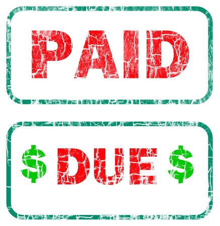 paid and due stamp sign red letters with a green border over a white background