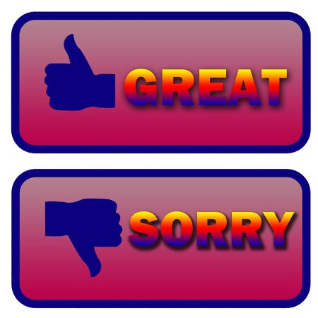 rejected: thumbs up great and thumbs down sorry illustration signs over a white background Stock Photo