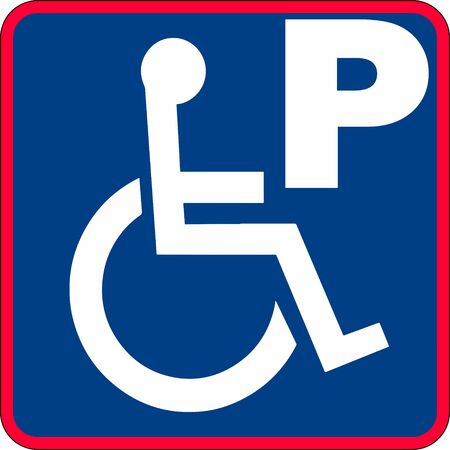 handicapped parking sign illustration in blue with a red boarder illustration