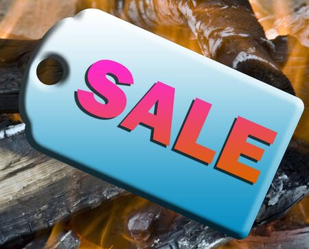 embossed sale design tag over a hot fire bargain representing hot sales Stock fotó