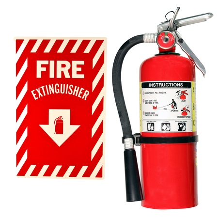 safety: fire extinguisher and sign isolated over a white background