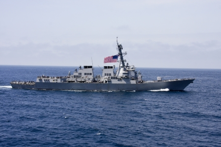 destroyer: american war ship on patrol in the pacific ocean Editorial