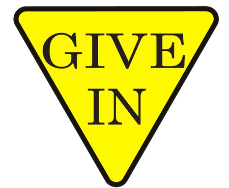 give: give in sign against a white background
