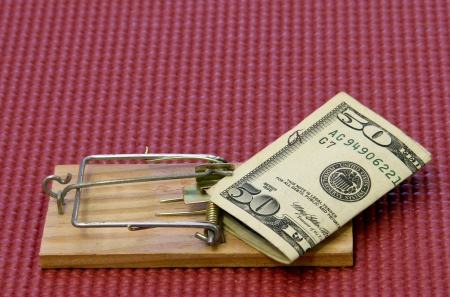 fifty dollar bill: fifty dollar bill on a mouse trap with a mat background
