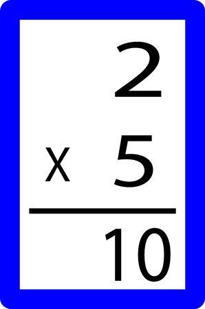 twee keer vijf vermenigvuldiging leren kaarten Stockfoto