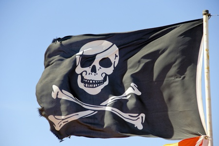 pirate flag flying against a blue sky photo