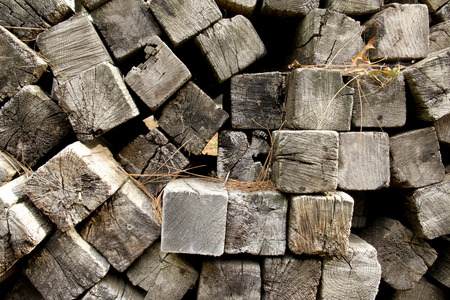 wood railroad: pile of old railroad ties makes a vintage wooden