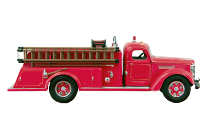 firetruck: toy hook and ladder firetruck isolated over a white