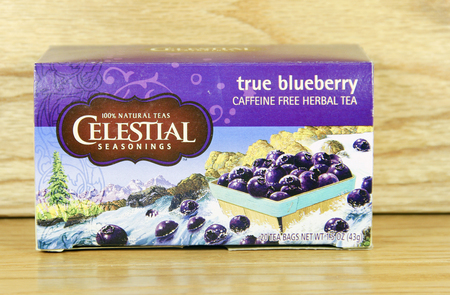 caffeine free: SPENCER , WISCONSIN - JANUARY 21, 2014 : box of Celestial Seasonings true blueberry tea
