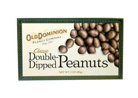 dominion: SPENCER , WISCONSIN- FEBRUARY 2, 2014: box of Old Dominion Dipped Peanuts. Old Dominion is a leading peanut provider since 1913
