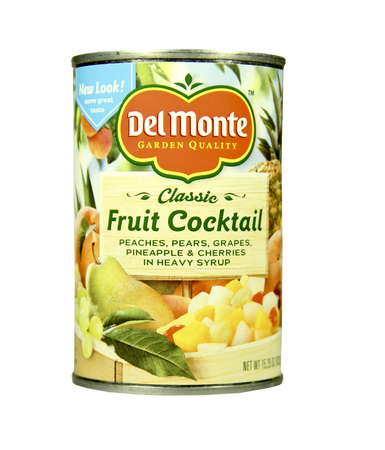 food distribution: SPENCER , WISCONSIN- FEBRUARY 5, 2014 : can of DelMonte Fruit Cocktail. Delmonte is an American food production and distribution company. Editorial