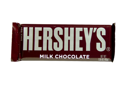 hershey's: SPENCER , WISCONSIN-February 7, 2014 : Hersheys Candy Bar. Hersheys was founded in  1894 and is the largest chocolate manufacturer in North America.