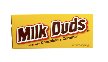 SPENCER , WISCONSIN-February 14, 2014 :box of Milk Duds candy,Manufactured by Hershey's. Hershey's was founded in  1894 and is the largest chocolate manufacturer in North America.