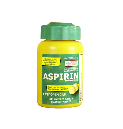 inflamation: SPENCER , WISCONSIN- FEBRUARY 21, 2014 : bottle of Aspirin. Aspirin is used to treat pain, fever,inflamation,and may reduce the risk of heart attacks.