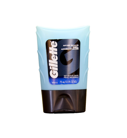 SPENCER , WISCONSIN- MARCH 28, 2014 : Gillette After Shave Gel. Gillette is a brand of mens personal care products founded in 1895.