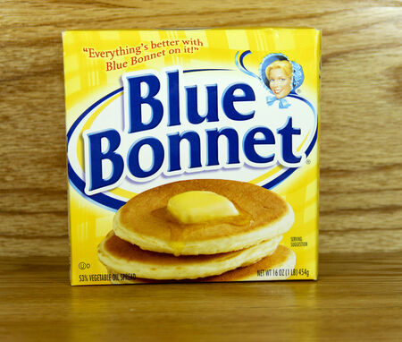 spreads: SPENCER , WISCONSIN- MARCH 29, 2014 : box of Blue Bonnet Margarine. Blue Bonnet is a leading provider of bread spreads owned by ConAgra.
