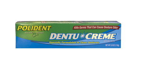 spencer: SPENCER , WISCONSIN-APRIL 9, 2014 : box of Polident Dentu Creme. Polident is a leading provider of dental care products