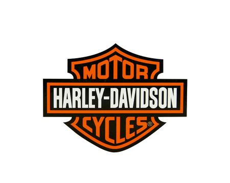 SPENCER, Wisconsin-17 april 2014: Harley Davidson Logo over een whight achtergrond. Harley Davidson is de toonaangevende Amerikaanse Made Motorcycle Company, het werd opgericht in 1903 Stockfoto - 27589356