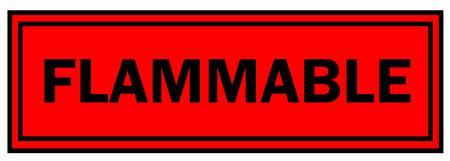 flammable: flammable sign with black letters over a red background.