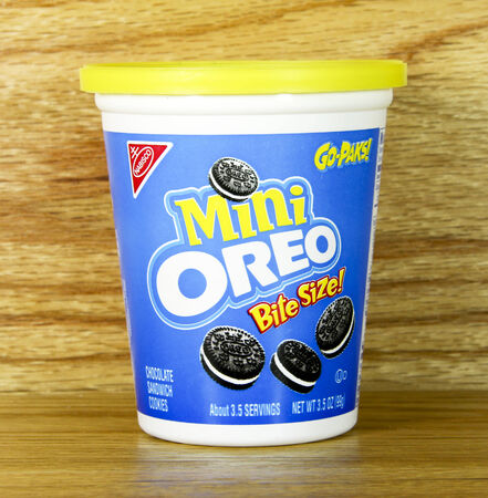 SPENCER , WISCONSIN July 2  , 2014:  Nabisco Mini Oreo Go-Paks. Nabisco is an American manufacturer of cookies and snacks, founded in 1890