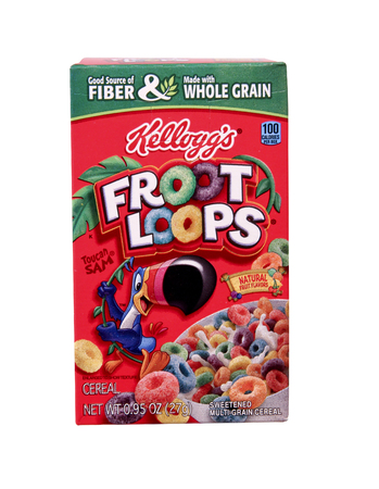 cereal box: SPENCER , WISCONSIN Aug. 10 , 2014:  box of Kelloggs Fruit Loops Cereal, Kelloggs is an American food manufacturer founded in 1906