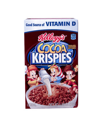 cereal box: SPENCER , WISCONSIN Aug. 10 , 2014:  box of Kelloggs Cocoa Krispies Cereal, Kelloggs is an American food manufacturer founded in 1906 Editorial