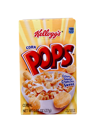 cereal box: SPENCER , WISCONSIN Aug. 10 , 2014:  box of Kelloggs Corn Pops  Cereal, Kelloggs is an American food manufacturer founded in 1906 Editorial