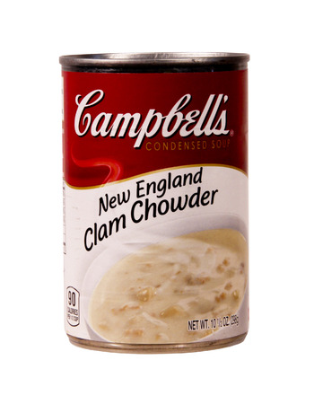 can food: SPENCER , WISCONSIN Aug. 18 , 2014:  can of Campbells Clam Chowder Soup, Campbells is an American soup company founded in 1869 Editorial