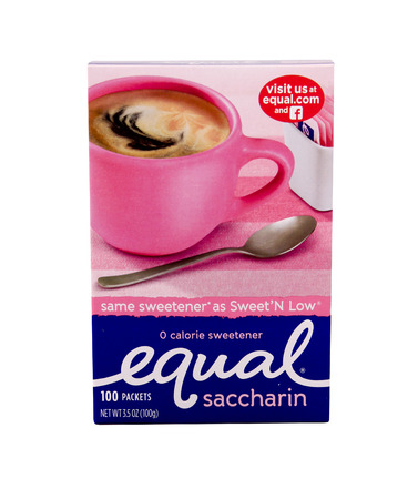 marketed: SPENCER , WISCONSIN Sept.12 , 2014:  box of Equal artificial sweetener. Equal is marketed by Merisant Corp. as a table top sweetener