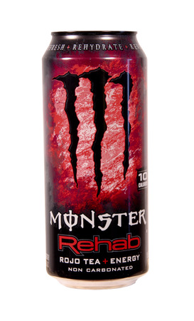 energy drinks: SPENCER , WISCONSIN Sept.4 , 2014:  Can of Monster Rojo Tea Energy Drink. Produced by Monster Energy Company of California