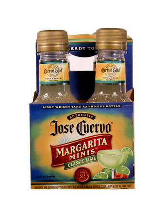 margaritas: SPENCER , WISCONSIN Sept.5 , 2014: Four Pack  Bottles of Jose Cuervo Margarita. Jose Cuervo is a brand of Tequila that was founded in 1795 Editorial