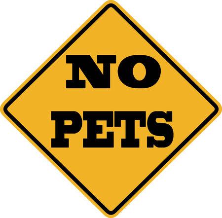 ordenanza: No hay señales de mascotas con letras negras sobre un fondo amarillo Foto de archivo