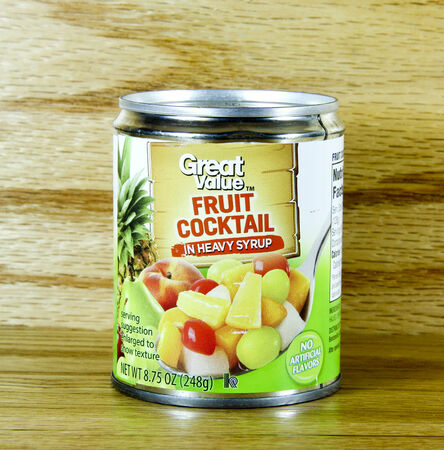 SPENCER , WISCONSIN Sept.159 , 2014:  Can of Great Value Fruit Cocktail. Great Value produces many products at discount for Walmart stores Editorial