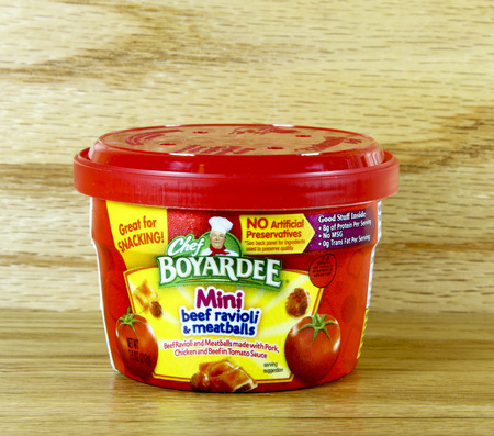 founded: SPENCER , WISCONSIN Sept.21 , 2014:   Container of Chef Boyardee Mini Ravioli. Chef Boyaredee was founded in 1928