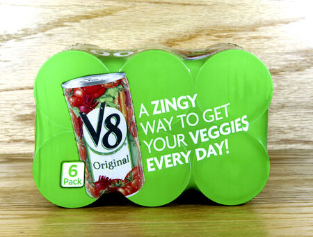 six pack: SPENCER , WISCONSIN Oct. 4, 2014: V8 juice six pack. V8 was founded in 1933 and as been owned by Campbell Soup Company since 1948 Editorial