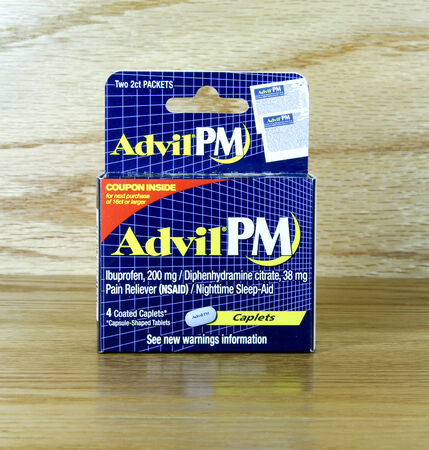 pm: SPENCER , WISCONSIN Oct. 4, 2014: Box of Advil PM Sleep Aid. Advil was made available in 2006 and is a sleep aid medication.