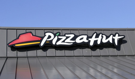 SPENCER , WISCONSIN Oct. 8, 2014: Pizza Hut Sign on a Store Front. Pizza Hut is a restaurant chain specielizing in Pizzas and Pasta dishes