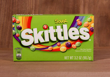 commercially: SPENCER , WISCONSIN,  February, 05, 2015  Box of Sour  Skittles Candy. Skittles was first made commercially available in 1974