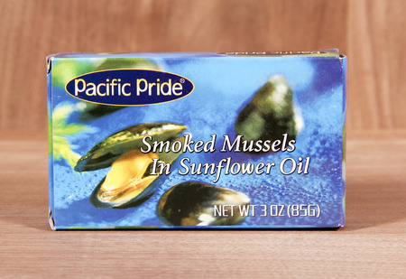 SPENCER , WISCONSIN,  February, 14, 2015   Box of Pacific Pride Smoked Mussels. Pacific Pride is a leading provider of Mussels and Seafood products