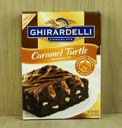 founded: SPENCER , WISCONSIN, March, 16, 2015  Box of  Ghirardelli Carmel Turtle Brownie Mix. Ghiradelli was founded in 1852