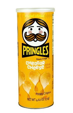 spencer: SPENCER , WISCONSIN, March, 24, 2015  Container of Pringles Cheddar Cheese Potato Chips. Pringles were first introduced in 1967