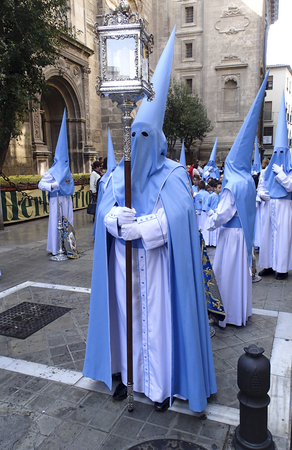 granada: Granada Spain, April, 5, 2015,  Easter procession in Granada Spain for Holy Week.