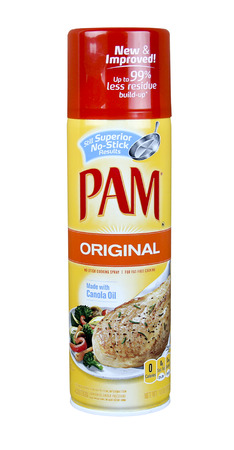 owned: SPENCER , WISCONSIN, April, 20, 2015  Can of PAM nonstick spray cooking oil. PAM is owned and distributed by ConAgra Foods Editorial