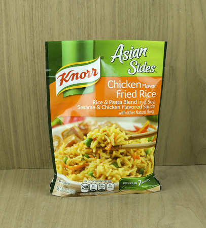 knorr: SPENCER , WISCONSIN, April, 22, 2015    Bag of Knorr brand Chicken Flavor  Rice noodle mix. Knorr is a German brand name whos company is in Heilbronn Germany.