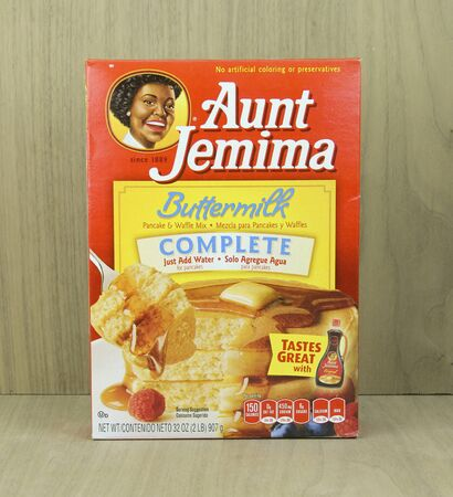 owned: SPENCER , WISCONSIN, April, 22, 2015   Box of Aunt Jemima Buttermilk Pancake Mix. Aunt Jemima was first trademarked in 1893 and is owned by the Quaker Oats Company