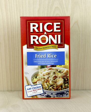 quaker: SPENCER , WISCONSIN, April, 24, 2015   Box of Rice A Roni Fried Rice. Rice A Roni is a product of the Quaker Oats Co. and was first introduced in 1958 Editorial