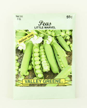 SPENCER , WISCONSIN, May, 9, 2015  Package of Valley Greene Peas Seeds. Valley Greene is an American Seed company originating from Greene, NY,