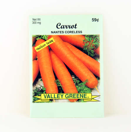 SPENCER , WISCONSIN, May, 9, 2015  Package of Valley Greene Carrot Seeds. Valley Greene is an American Seed company originating from Greene, NY,