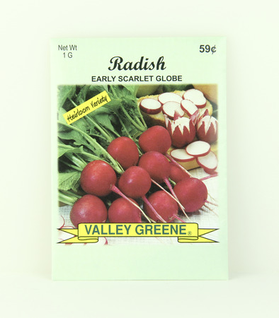SPENCER , WISCONSIN, May, 9, 2015  Package of Valley Greene Radish Seeds. Valley Greene is an American Seed company originating from Greene, NY, Sajtókép