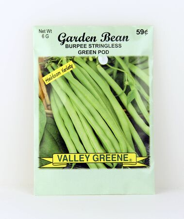 SPENCER , WISCONSIN, May, 9, 2015  Package of Valley Greene Bean Seeds. Valley Greene is an American Seed company originating from Greene, NY,